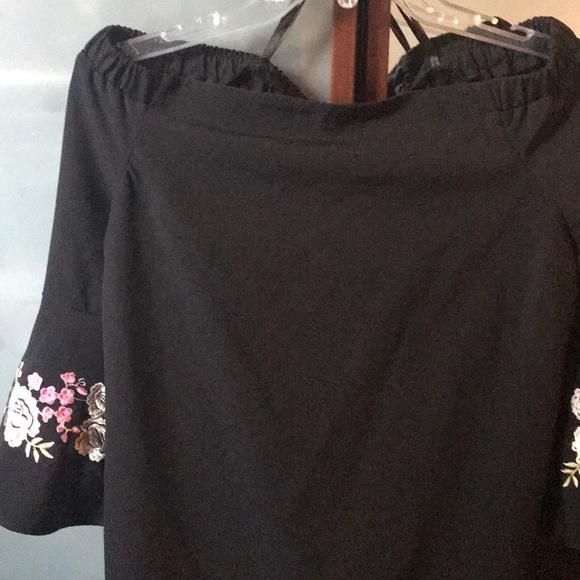 Jennifer Lopez Dresses & Skirts - Off the shoulder black mini dress